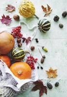 Autumn composition with assorted pumpkins in eco string bag photo
