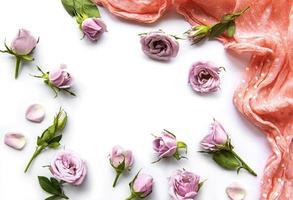 marco de rosas sobre fondo blanco. foto
