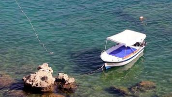 St Pauls Bay panorama boats clear water Lindos Rhodes Greece. video
