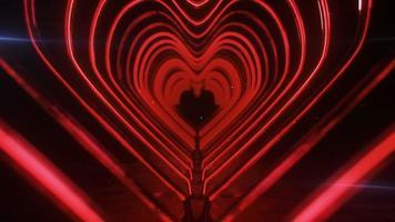 Corridor of flashing neon red hearts video