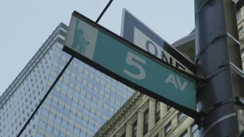 5th Avenue signpost in New York City video