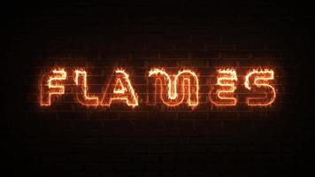 Flames fire text with brick background for technology background video