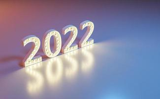 New year 2022 sign with lights bulbs photo