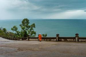 An image of Danang beach in Vietnam seen from Linh Ung Pagoda on a bad weather, rainy day photo