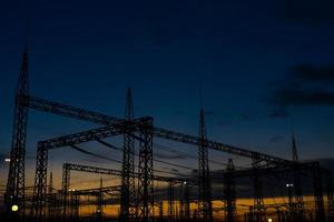 Sun setting over an electrical substation. photo