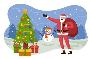 Santa and Snowman Show Gift for Everyone vector