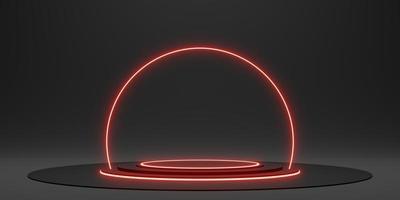 soporte de exhibición negro anillo láser y luz de neón resplandor ilustración 3d foto