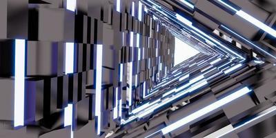 tecnología de túnel láser puerta de pasillo triangular de luz de neón foto