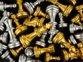 Gold and Silver King and Knight of chess piece background photo