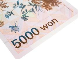 Corea del Sur 5000 won moneda de billetes de cerca macro, dinero coreano foto