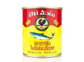 BANGKOK THAILAND - January 30, 2019, Editorial photo Can of Ayam Brand Sardines isolated on white background