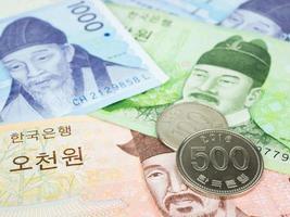 Corea del Sur ganó moneda de billetes de cerca macro, dinero coreano foto