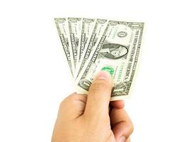Pay dollars money isolated on white background, Chipping path photo