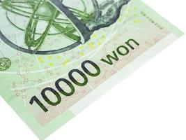Corea del sur 10000 won moneda de billetes de cerca macro, dinero coreano. foto