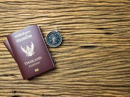 Planning travel concept, Thailand passport on wooden background photo