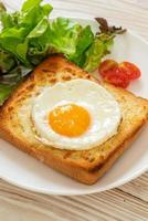 bread toasted with cheese and fried egg photo