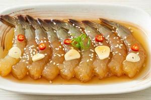 Korean Style Pickled Prawns or  Korean Soy Sauce Pickled Shrimp photo