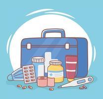 medicine first aid kit vector