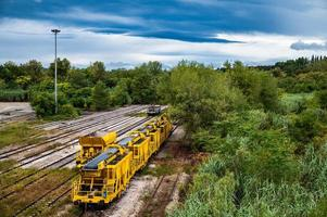 landscape with stationary freight train photo