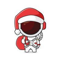 lindo, astronauta, proceso de llevar, presente, saco, celebrar, navidad, caricatura, garabato, icono, ilustración vector