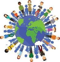 Earth globe with people vector