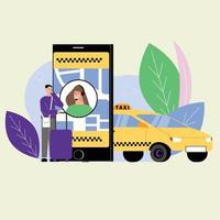 online taxi service flat design vector