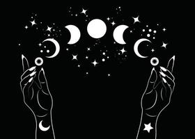 Mystical moon phases and woman hands, Triple moon pagan Wiccan goddess symbol, alchemy esoteric magic space, sacred wheel of the year, vector isolated on black background