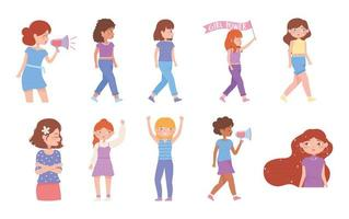 womens day strong girls different cultures, group female activists vector