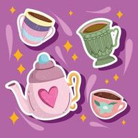kettle and coffee cups vector
