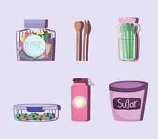 reusable containers and cutlery vector
