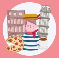 italy gondolier and colosseum vector