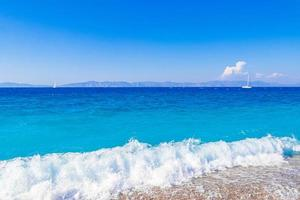Elli beach landscape Rhodes Greece turquoise water and Turkey view. photo