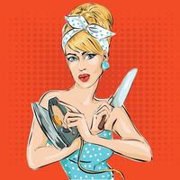 Woman comic illustrations in pop art style vector