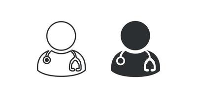 doctor, physician with stethoscope vector isolated icon for web Free Vector