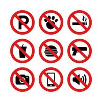 Prohibition and restriction sign vector set