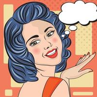 Pop Art illustration of woman with the speech bubble vector