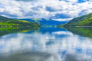 Incredible norwegian landscape colorful mountains fjord forests Jotunheimen Norway. photo