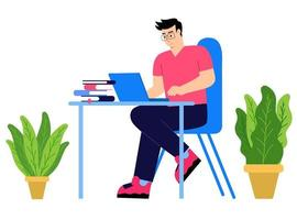 Man sitting table with laptop vector