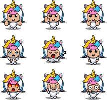 cartoon animal mascot costume character cartoon vector illustration expression set