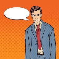 Pop Art Sad Depressed Businessman with Comic Speech Bubble. Vector illustration