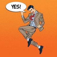 Pop Art Successful Businessman Jumping with Comic Speech Bubble Yes. Vector illustration