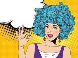 mujer sexy del arte pop con la boca abierta y el megáfono hablando. vector de fondo en estilo cómic retro pop art.