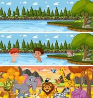 Different nature landscape at daytime scene with cartoon character vector