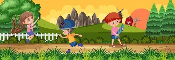 Outdoor horizontal scene with many kids doing activities at the park vector
