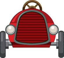 Vintage red car toy on white background vector