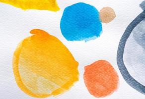 Watercolor hand painted circle shape design elements. Set of multicolored watercolor dots. Watercolor brush collection. photo