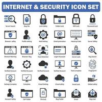 Internet And Security Icon Set black And Blue vector