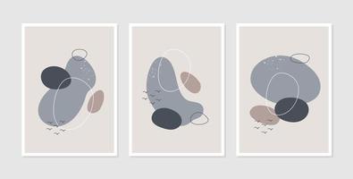 Set of three abstract aesthetic mid century modern line vector