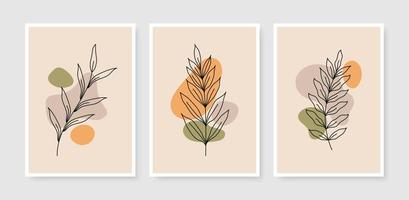 Abstract contemporary mid century modern leaves boho poster template collection vector