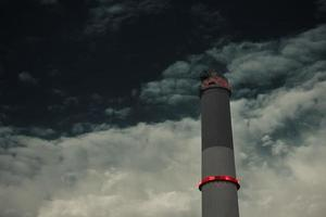 Close up of the power station chimney of Reading in Tel Aviv that in Israel. photo